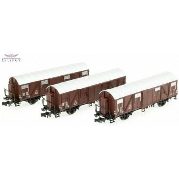 Liliput 260146 3-tlg. Set ged. Güterwagen, Glmhs 50, Bretterwände, Bremserhaus, DB, Ep.III