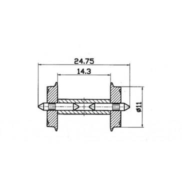 Roco 40192 Radsatz 11mm geteilter Achse 1 Paar