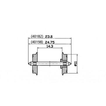 Roco 40198 Radsatz einseitig isoliert 11mm 1 Paar