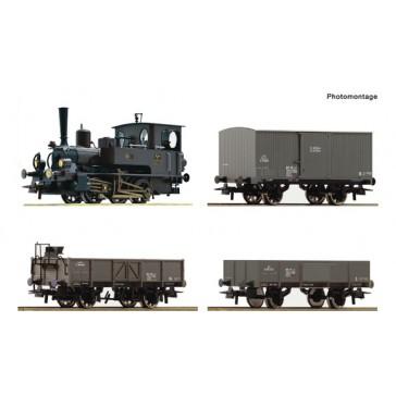 Roco 61458 4-tlg. Set: Dampflokomotive Reihe 85 mit Güterzug Kaiserzeit , KKStB epoche 1