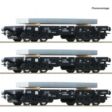 Roco 67194 3er Set Schwerlastwagen NS+Stahlb
