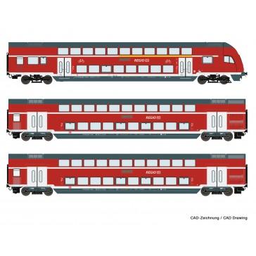 Roco 74146 3er Set Doppelstock NRW DC