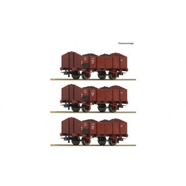 Roco 76199 3-tlg. Set: Offene Güterwagen, FS epoche 3
