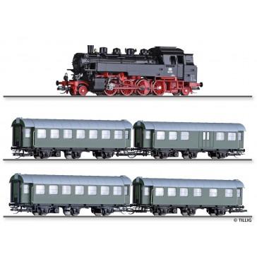 Tillig 01004 Zugset DB-Personenzug 50er Jahre, bestehend aus Dampflokomotive BR 86, Reisezugwagen-Paar 2./3.Klasse und 3. Klasse, Reisezugwagen-Paar 3. Klasse und 3. Klasse mit Packabteil, Ep. III