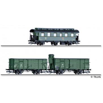 Tillig 01014 Set Hilfszug der DR, bestehend aus einem Personenwagen und zwei Güterwagen, Ep. III