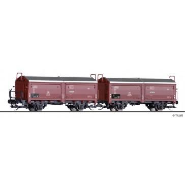 Tillig 01032 Güterwagenset der DB, bestehend aus zwei Schiebedach-/ Schiebewandwagen Kmmgks 58, Ep. III -FORMNEUHEIT-