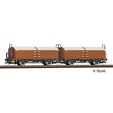 Tillig 01034 Güterwagenset der ČSD, bestehend aus zwei Schiebedachwagen Utz/Tms, Ep. IV -FORMNEUHEIT-