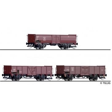 Tillig 01036 Güterwagenset der DB, SBB und DSB, bestehend aus drei offenen Güterwagen EUROP, beladen mit Steinkohle, Ep. III -FORMNEUHEIT-
