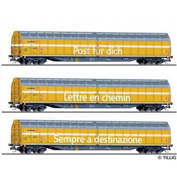 Tillig 01038 Güterwagenset der Schweizer Post, bestehend aus drei Schiebewandwagen Habbiillnss, Ep. VI