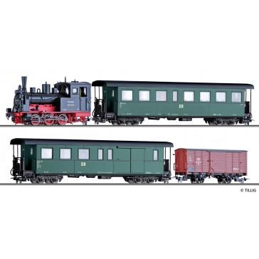 Tillig 01172 Zugset der DR, bestehend aus Dampflokomotive BR 99.57, einem Personenwagen KB4i, einem Packwagen KBD4i und einem gedeckten Güterwagen Gw, Ep. III