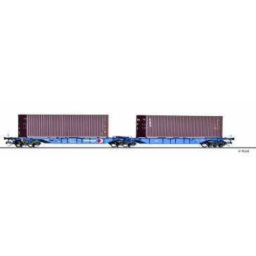 Tillig 18030 Doppeltragwagen Sggmrs 715 Kombiwaggon, DB AG, + Containern, Ep. V