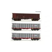 Roco 67153 3-tlg. Set: Offene Güterwagen, ÖBB epoche 6