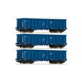 Roco 76128 3-tlg. Set: Offene Güterwagen, PKP Cargo epoche 6