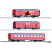Tillig 01006 Standard-Hilfszug der DB Netz Notfalltechnik, bestehend aus drei Wagen, Ep. VI