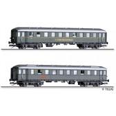 Tillig 01010 Reisezugwagenset DER-Ferienexpress 2 der DB, bestehend aus zwei Reisezugwagen, Ep. III