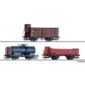 Tillig 01031 Güterwagenset der UWHJ, PKP und ČSD, bestehend aus einem gedeckten Güterwagen der UWHJ, einem Kesselwagen der PKP und einem offenen Güterwagen der ČSD, Ep. II