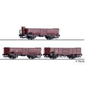 Tillig 01035 Güterwagenset der DB, bestehend aus drei offenen Güterwagen, beladen mit Steinkohle, Ep. III -FORMNEUHEIT-