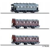 Tillig 01048 Reisezugwagenset Mecklenburgischer Reisezug 2 der M.F.F.E., bestehend aus drei Reisezugwagen, Ep. I