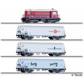 Tillig 01049 Zugset 75 Jahre Nenngröße TT der DR, bestehend aus Diesellokomotive BR 107 und drei Kühlwagen EK-4, Ep. IV