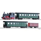 Tillig 01173 Zugset der DR, bestehend aus Dampflokomotive BR 99.47, einem Personenwagen KB4i, einem Packwagen KBD4i und einem gedeckten Güterwagen Gw, Ep. III