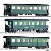 Tillig 01175 Personenwagenset Harzer Roller, bestehend aus zwei Personenwagen und einem Packwagen, Ep. IV -H0e-