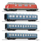 Tillig 01750 Personenzugset 60 Jahre Zeuke, bestehend aus Diesellokomotive V 200 und drei Personenwagen, Ep. III