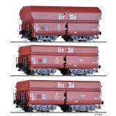 Tillig 01766 Güterwagenset Erzzug 3 der DB, bestehend aus drei unterschiedlichen Selbstentladewagen OOtz 41 und OOtz 43, Ep. III