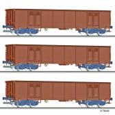 Tillig 01770 Güterwagenset der DR, bestehend aus drei offenen Güterwagen Eas 5948, beladen mit Braunkohle, Ep. IV