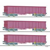 Tillig 01771 Güterwagenset der DB, drei offenen Güterwagen Eanos 052, beladen mit Steinkohle, Ep. IV