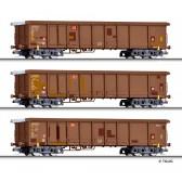 Tillig 01772 Güterwagenset der DB AG, 3 Rolldachwagen Tamns 893, Ep. VI