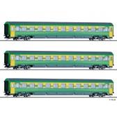 """Tillig 01785 Reisezugwagenset """"Raabercity"""" der GySEV, bestehend aus einem Reisezugwagen ABmz und zwei Reisezugwagen Bmz, Ep. VI"""