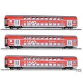 "Tillig 01787 Reisezugwagenset ""VVO"" der DB AG, bestehend aus drei Doppelstockwagen, Ep. VI"