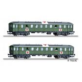 Tillig 01812 Personenwagenset Lazarettzug der DRG, bestehend aus zwei Reisezugwagen, Ep. II
