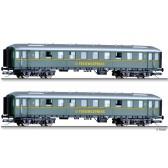 Tillig 01813 Reisezugwagenset DER-Ferienexpress der DB, bestehend aus zwei Reisezugwagen, Ep. III
