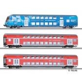 Tillig 01816 Reisezugwagenset SüdostBayernBahn der DB AG, bestehend aus einem Doppelstock-Steuerwagen und zwei Doppelstockwagen, Ep. VI