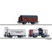 Tillig 01817 Güterwagenset der BDZ, DRG und ČSD, bestehend aus einem gedeckten Güterwagen der BDZ, einem Kühlwagen der DRG und einem Kesselwagen der ČSD, Ep. II
