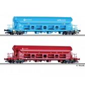 Tillig 01818 Güterwagenset der Ermewa / LOVOCHEMIE, bestehend aus zwei Schwenkdachwagen Tads (B), Ep. VI