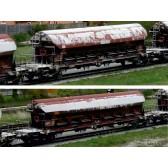Tillig 01819 Güterwagenset der DB AG, bestehend aus zwei Schwenkdachwagen Tads-z 958, gealtert, Ep. VI