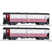 Tillig 13982 Personenwagenset der HSB, bestehend aus zwei Personenwagen KB, Ep. V/VI