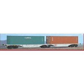 ACME 40280 Containerwagen, Typ Sggmrss, '90 Doppelmodul, Eigentum der ZSSK Cargo, beladet mit Tex und Capital Container