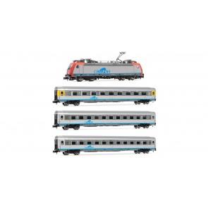 Arnold HN2325 Cisalpino EuroCity, Set 1, enthält eine Mehrssystemlokomotive Re484, einen Wagen 1. Klasse u. zwei Wagen 2. Klasse
