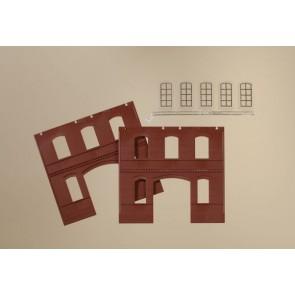 Auhagen 80523 Wände 2391C rot, Industriefenster L