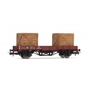 Rivarossi HR6141 Flachwagen X, mit Beladung two wooden boxes DB