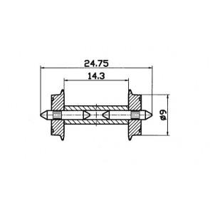Roco 40191 Radsatz 9mm geteilter Achse 1 Paar