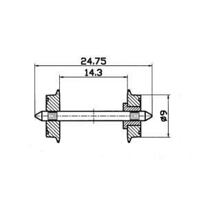 Roco 40194 Radsatz einseitig isoliert 9mm1 Paar