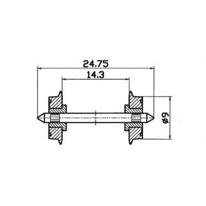 Roco 40197 Radsatz 2fach isoliert 9mm 1 Paar