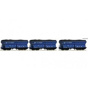 Roco 76130 3-tlg. Set: Selbstentladewagen gealtert mit Kohlebeladung, PKP Cargo epoche 6