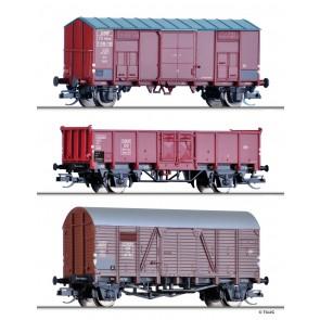 Tillig 01001 Güterwagenset der FS, ÖBB und DB, bestehend aus zwei gedeckten Güterwagen und einem offenen Güterwagen, Ep. III
