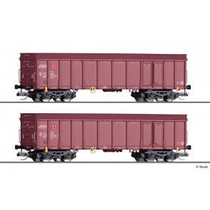 Tillig 01037 Güterwagenset der DB AG, bestehend aus zwei offenen Güterwagen Ealos-x, Ep. VI -FORMVARIANTE-