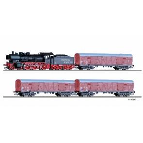 Tillig 01441 Güterzugset der DR, bestehend aus Dampflokomotive BR 38.10 und drei gedeckten Güterwagen GGrhts, Ep. III